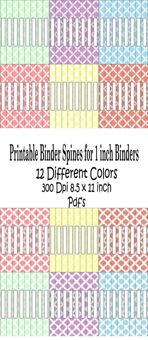 Printable Binder Spine Pack Size 1 Inch6 by ...