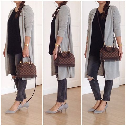 Outfit with LV Alma BB in Damier Ebene  6e8844d9e1457