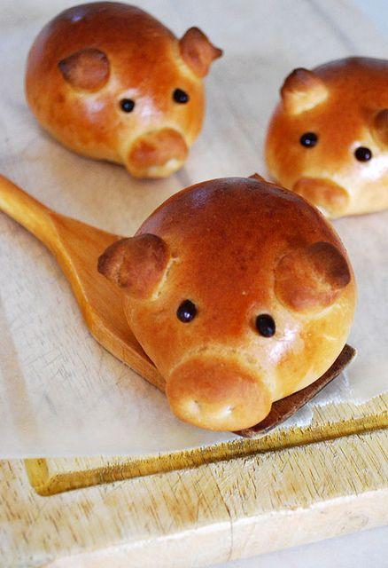 sausage-stuffed piglet buns by girlversusdough, via Flickr