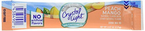 Crystal Light Energy On The Go, Peach Mango, 10-Count (Pack of 6) (Packaging May Vary) - Crystal Light Energy Peach Mango Natural Flavor With Other Natural Flavor Drink Mix. 5 calories per serving. 90% fewer calories than leading beverages. Caffeine energy releasing B vitamins. See back. On the go. 10 packets-0.07 oz (2.21g).
