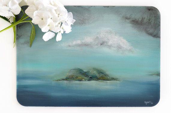 Island painting Original landscape artwork Aqua by ThePennyDrops