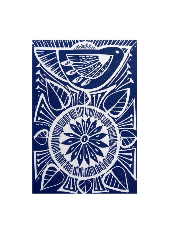 Blue Folk Bird and Flower Original Hand Printed Linocut Print, via Etsy.