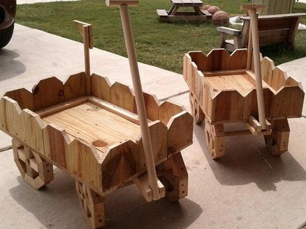wooden wagon planters