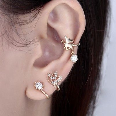 Gold Plated, Silver Plated Cubic Zircon Bird Non Piercing Ear Cuffs Earring