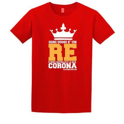 """Stampa T-Shirt Bambino #chesterton #frassati #distributismo """"Ogni uomo è un Re e ogni cappello la sua corona"""" cit. GKC"""
