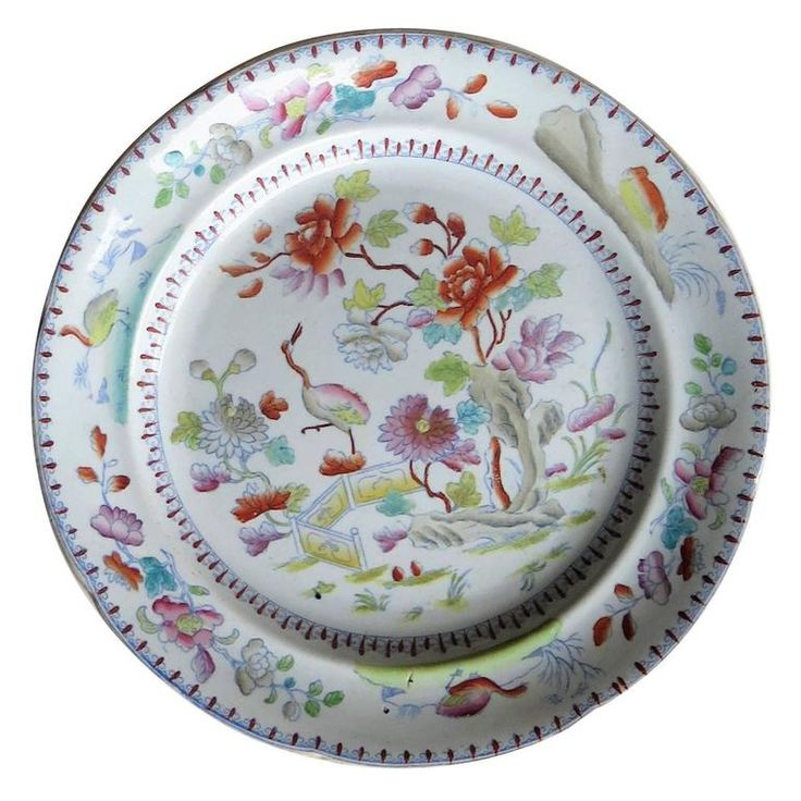 Georgian Davenport Ironstone Dinner Plate, Pattern 27, Hand-Painted, circa 1810 | From a unique collection of antique and modern dinner-plates at https://www.1stdibs.com/furniture/dining-entertaining/dinner-plates/