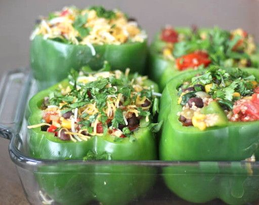 Quinoa and Black Bean Stuffed Peppers -- Gluten free, and vegetarian! Probably would want to halve this recipe unless you have a big family!