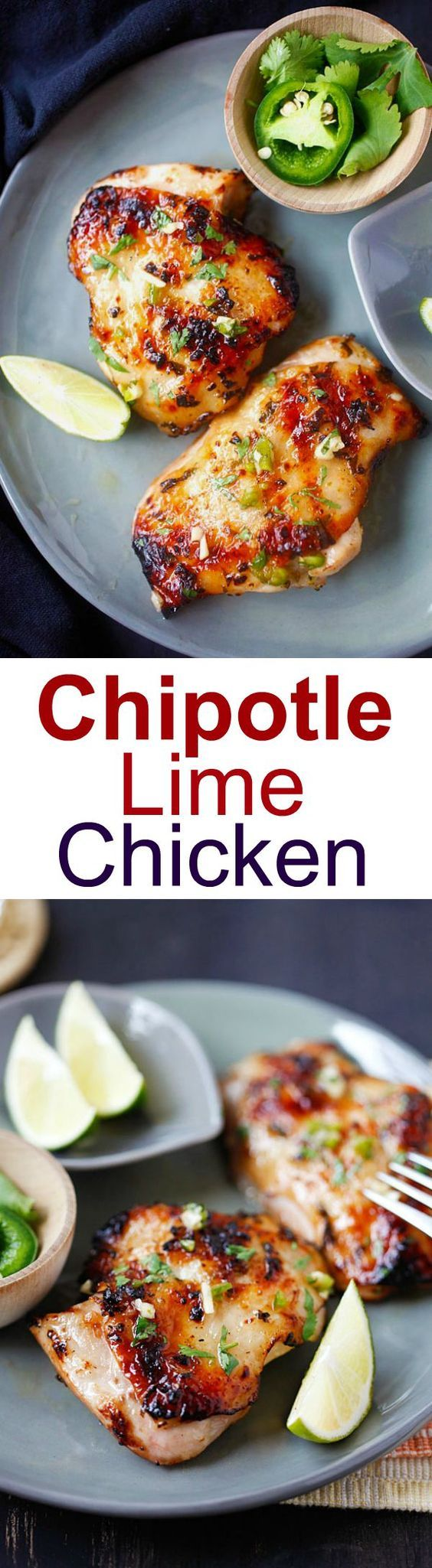 Chipotle Lime Chicken - ridiculously delicious and juicy grilled chicken recipe with chipotle chili, lime juice, garlic and cilantro! | rasamalaysia.com