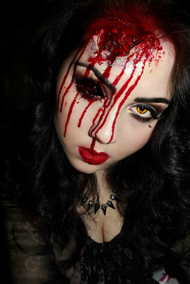 Head wound makeup- the contacts really make this look work