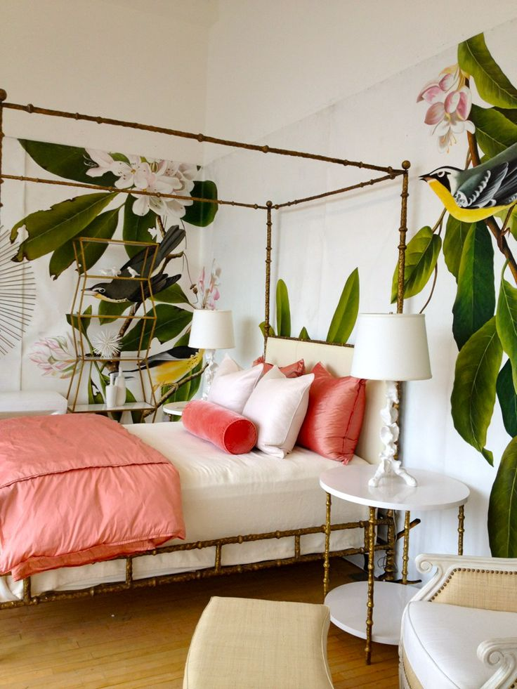 Huge scale wallpaper! >> I actually thought they were real plants at first, so pretty!: Guest Room, Coral, Tropical Bedrooms, Bedrooms Design, Colors, Interiors, Beds Frames, House, Bedrooms Decor