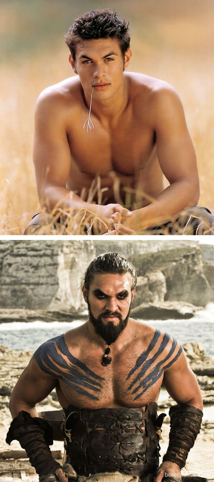 Jason Momoa As Jason (In 2003's Baywatch) And As Khal Drogo (In GoT) | Bored Panda