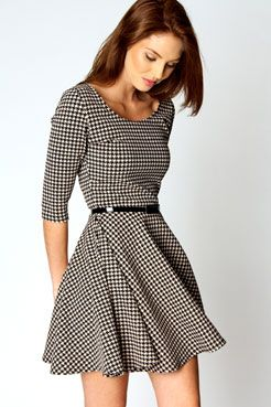 Zoe 3/4 Sleeve Dogtooth Belted Skater Dress #boohoo £20.00