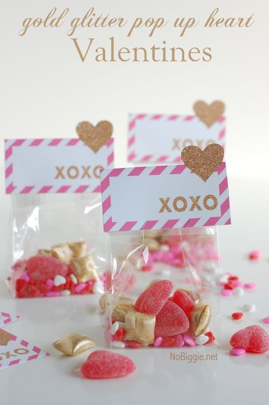 gold glitter pop up heart Valentines - a free printable via NoBiggie.net