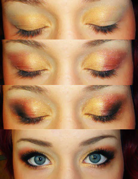 warm color tutorial.: Colors Combos, Warm Colors, Eye Makeup, Eye Shadows, Colour Tutorials, Sunsets Colors, Makeup Kit, Blue Eye, Colors Tutorials