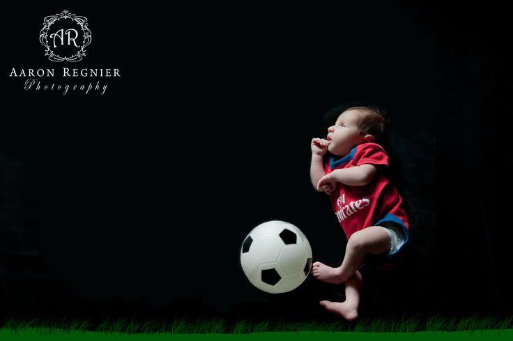 Baby Boy Photography Soccer ball newborn Aaron Regnier Photography