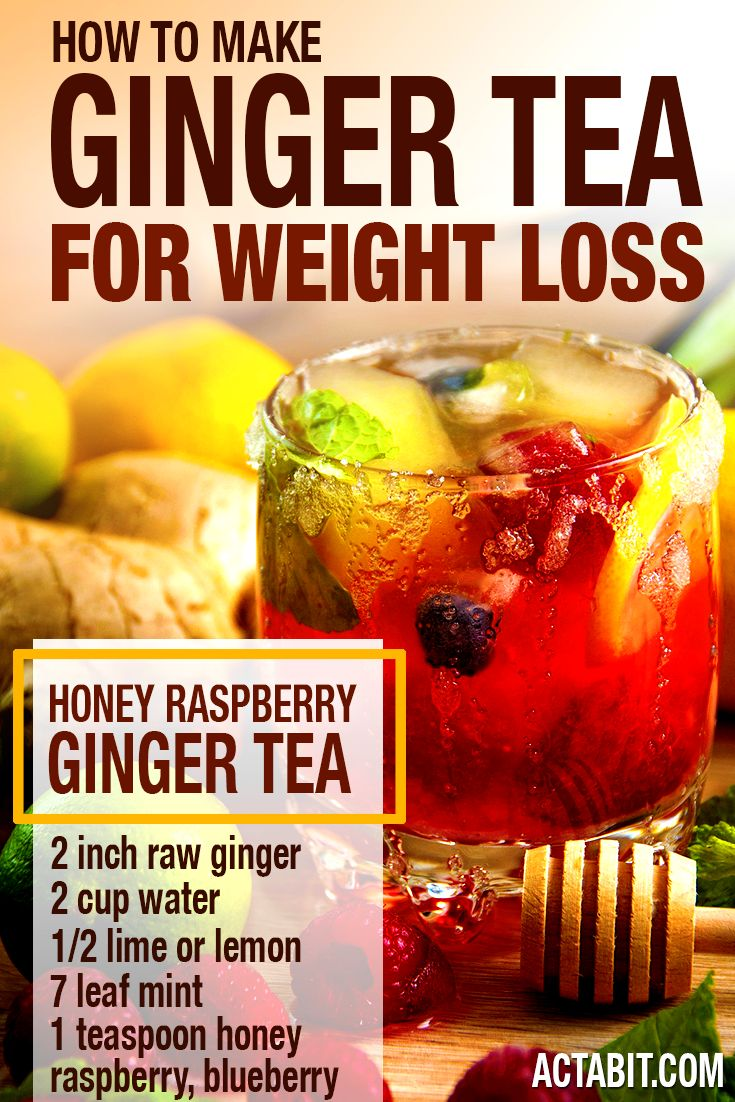 How to Make Ginger Tea for Weight Loss. Do you wander how to use ginger tea for weight loss? Here's a recipe of a delicious ginger tea you can make in 10 minutes. Ginger, lemon, mint and raspberry are a delicious combination, perfect for weight loss. This ginger tea increases metabolism, improves digestion and cures post-workout muscle soreness. http://www.actabit.com/ginger-health-weight-loss-benefits/