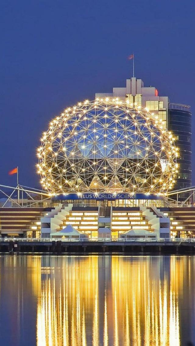 "Science World glows at night in #Vancouver. ""Vancouver skyline, British Columbia, Canada"" #explorebc"