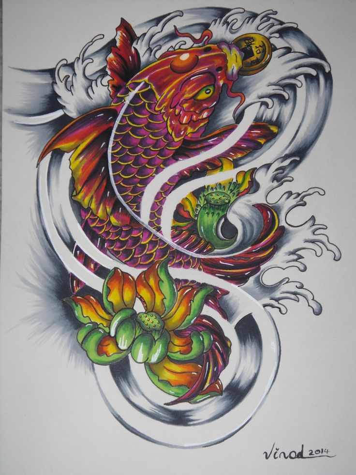 Koi Fish Tattoo Design, referenced from Google images