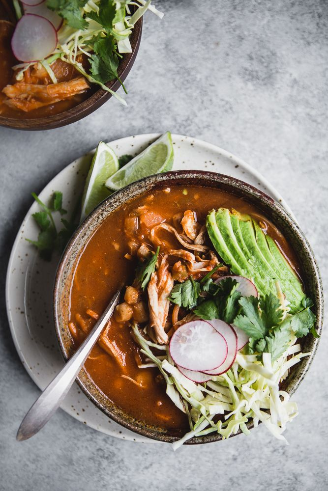 A warm bowl of pozole soup is the perfect use for all those leftovers you have during the Holiday season.
