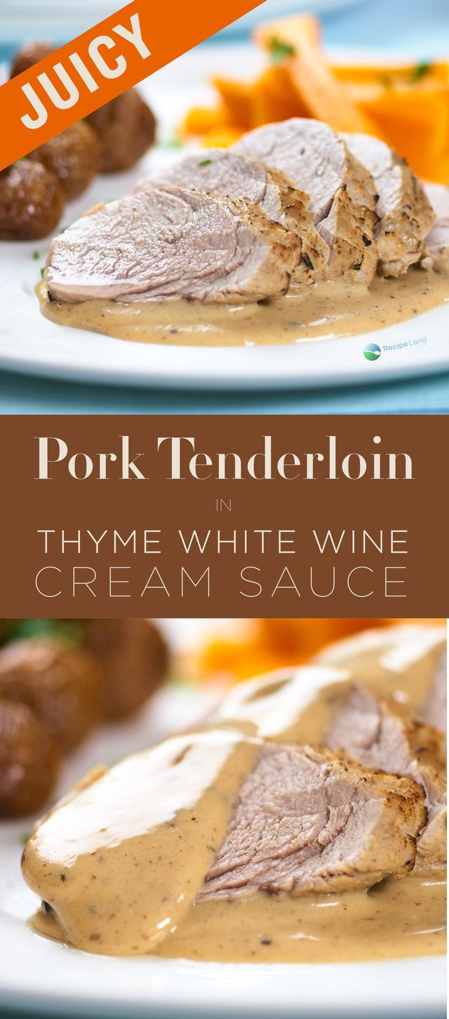 Perfectly cooked juicy pork tenderloin marinated in mustard and thyme served with a white wine cream sauce. This sauce is perfect for the pork and any sides such as steamed potatoes and carrots.