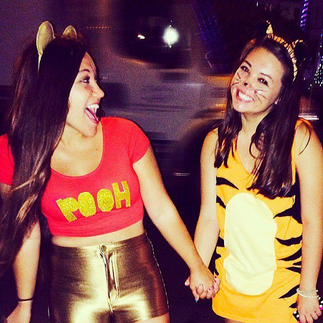 Cute Disney-themed Halloween couples or BFF costume idea: Winnie the Pooh and Tigger