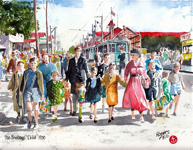 """""""The Brisbane Ekka, 1950"""" - Who doesn't like going to the Ekka. These kids here with their Showbags epitomise the excitement and eventual tiredness of walking back to the car or tram for the long trip home. I did this in watercolour."""