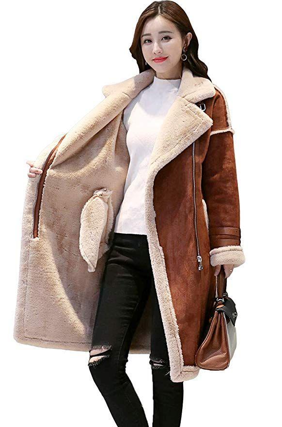 9da88a68f697b Shineflow Women s Lapel Faux Fur Fleece Lined Parka Warm Winter Shearling  Coat Leather Jacket (L