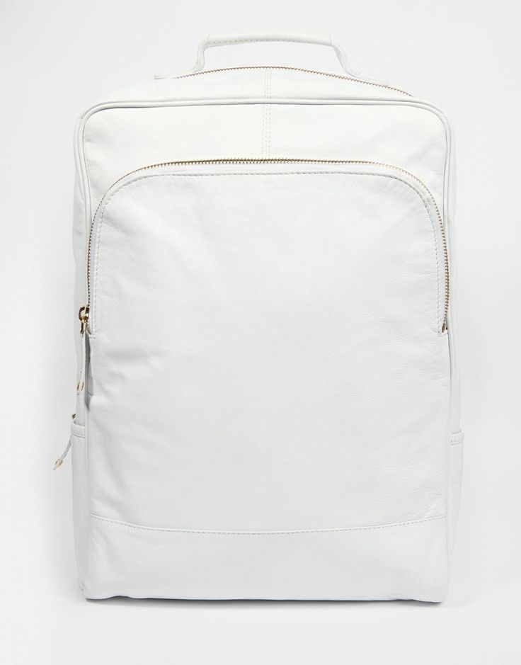ASOS Smart Leather Backpack In White