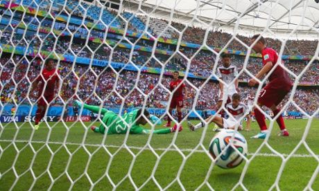 Thomas Mueller of Germany scores his team's fourth goal and completes his hat-trick. Photograph: Clive Brunskill/Getty