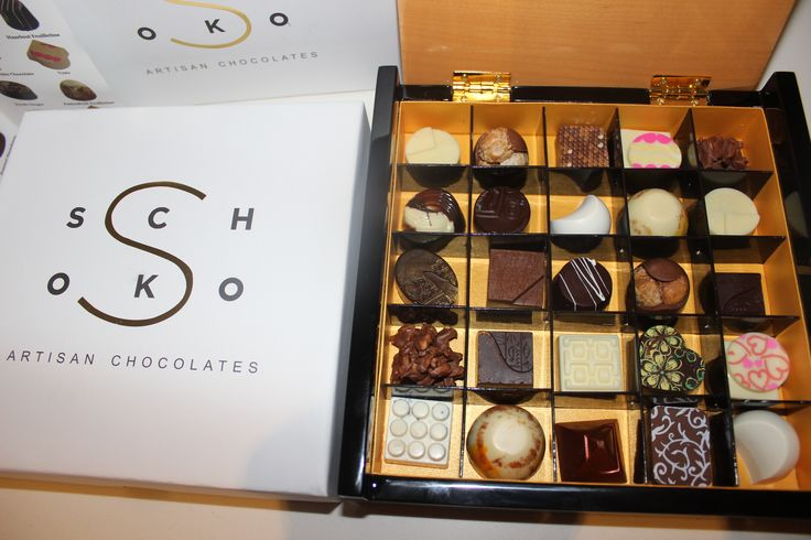 Our luxury wooden box with 25 handmade chocolates inside. The perfect gift.