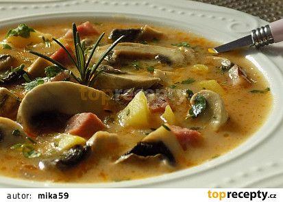 Žampionová polévka s uzeným masem recept - TopRecepty.cz
