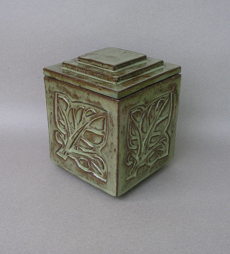 Larger lidded green stoneware box/urn with by CamasCreekPottery - Etsy - pottery - ceramics