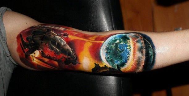 Hubschrauber Planeten Tattoo Motiv