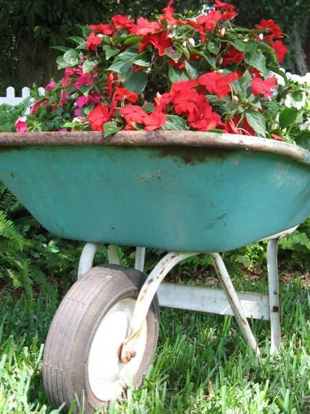 Flower Garden Ideas With Old Wheelbarrow 112 best wheelbarrow gardens images on pinterest | wheelbarrow