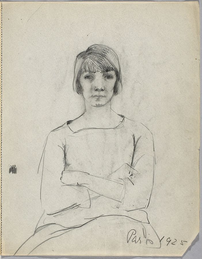 "Heward moved to Paris after the war and studied drawing at the École des beaux-arts. ""Figure Study,"" 1925, National Gallery of Canada Library and Archives."