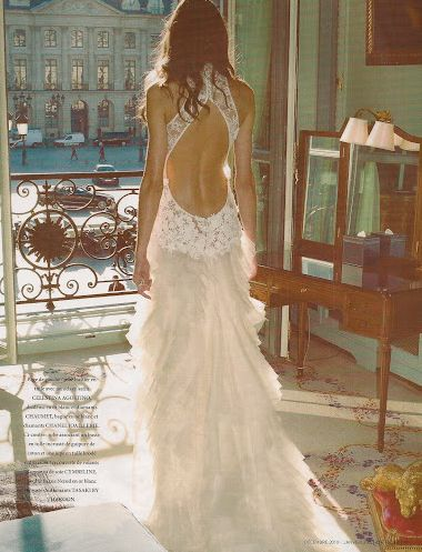 Open Back Couture Wedding Dress, Messy Hair