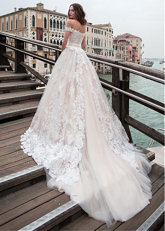 [253.60] Fantastische Tüll off-the-Shoulder-Ausschnitt A-Linie Brautkleid mit S…