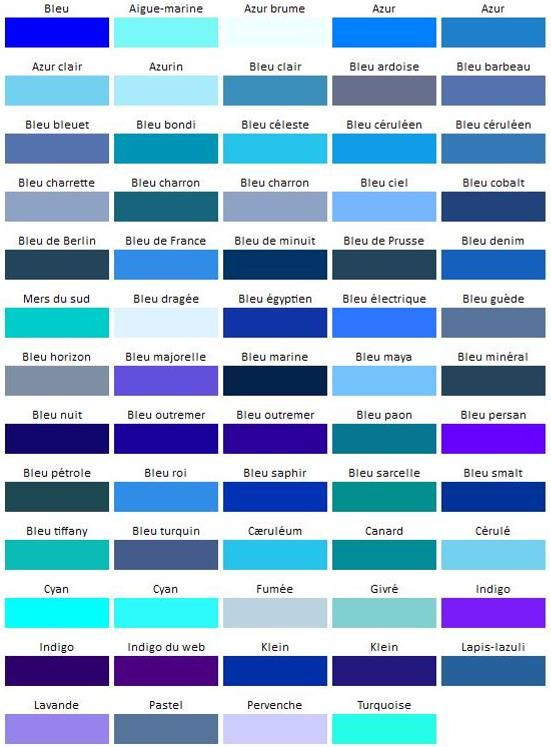 les nuances de la couleur bleu