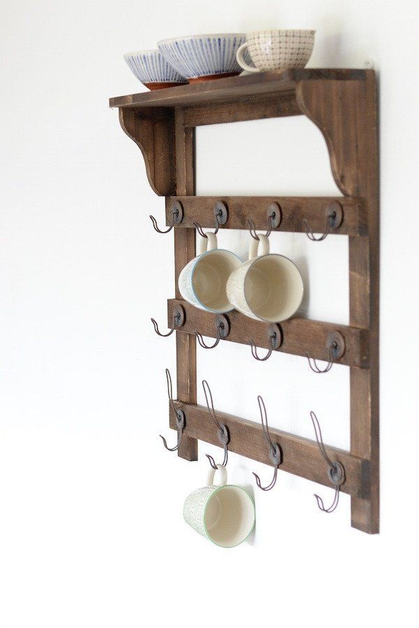 Wooden Wall Shelf With Hooks - The Forest & Co.