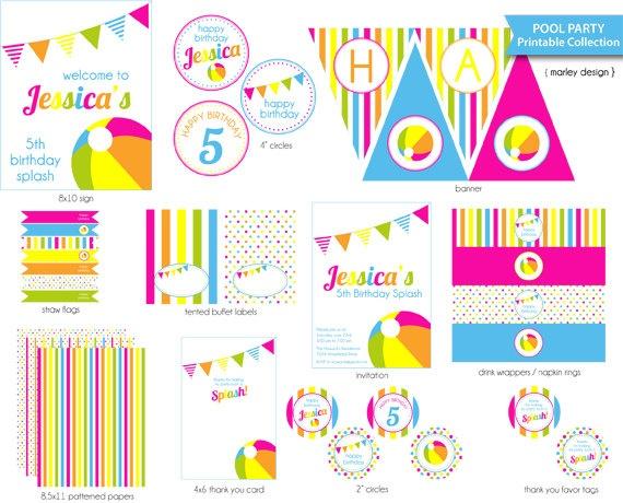 Pool Party Printables Package / DIY Pool Birthday by MarleyDesign