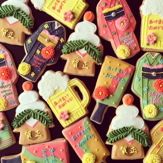 japanese new year cookies - dont even know if there is a recipe attached to this pin but YUM and they are so pretty!