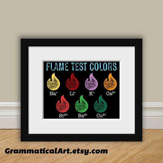 Science Nerd Science Flame Test Print - Chemistry Poster Ions Geekery Gift - Teacher Gifts for Teachers Colorful Science Art Science Gifts
