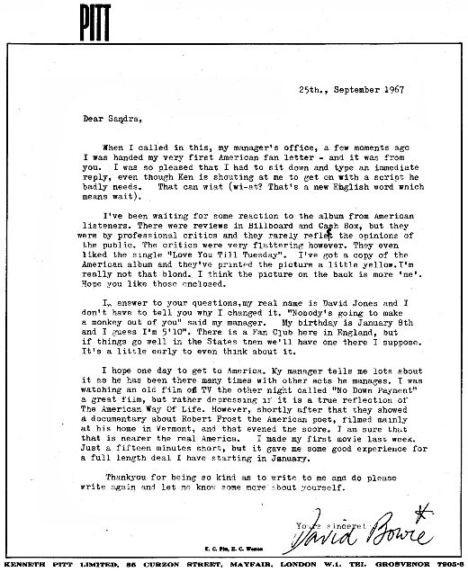 """My Real Name is David Jones"" letter from David Bowie to 14 year old Sandra Dodd in New Mexico in response to his ""first American fan letter"" in 1967. (via Letters of Note)"