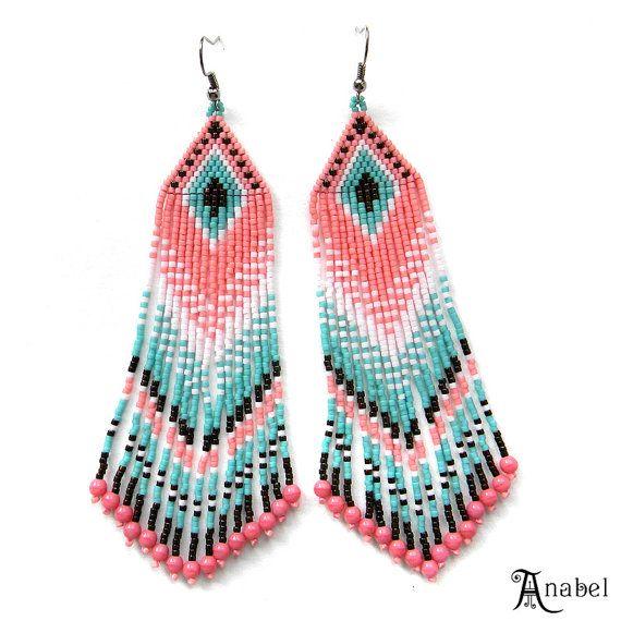 Long Beaded Earrings Dangle Seed Bead Earrings by Anabel27shop
