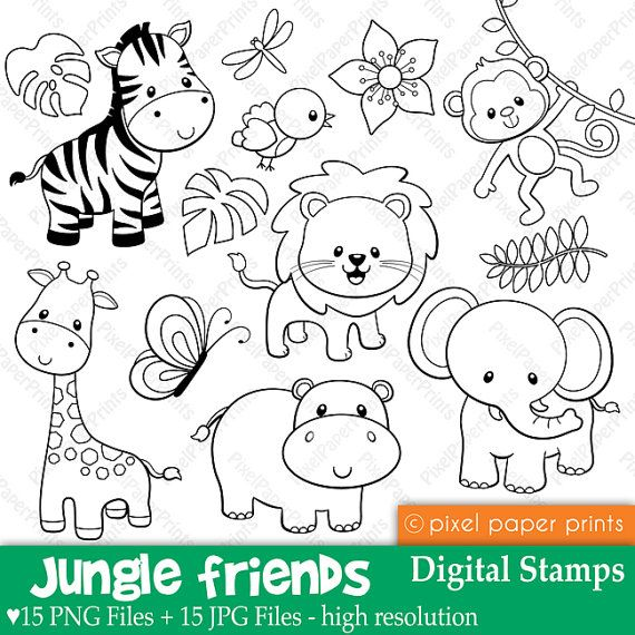 Jungle Friends  Digital stamps by pixelpaperprints on Etsy, $5.00