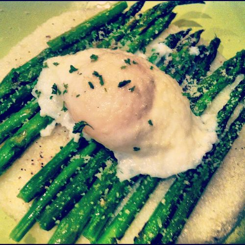 Poached Egg over Asparagus