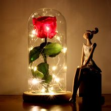 PreservedFreshFlower Beauty and The Beast Rose with Dome Preserved Rose Metal Rose Enchanted Rose Handmade Rose with LED Lights ~ Click the VISIT button to view the details on  AliExpress.com #HomeDecor