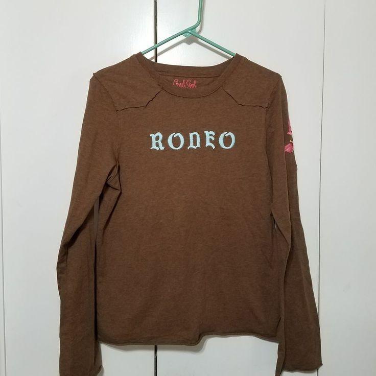 Cruel Girl Womens XL Rodeo Brown Long Sleeve Western Floral Country Shirt #CruelGirl #KnitTop #Casual