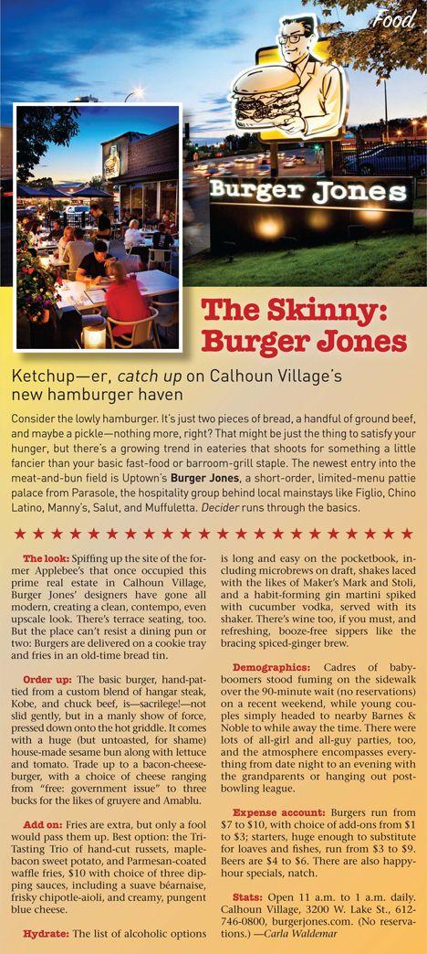 BURGER JONES: Restaurant and Cocktail Bar - news