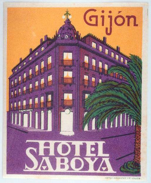 Etiqueta Hotel Saboya. Gijón.  circa 1950